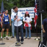 New Rochelle Mayor Noam Bramson dedicates the new Colonial Trail,  minutes before the race starts