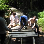 Scouts work to repair catwalk, April 2008